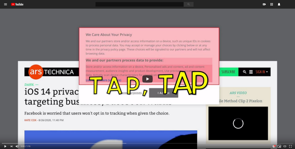 """Screenshot of """"TapTap"""" @ YouTube, linked to the video"""