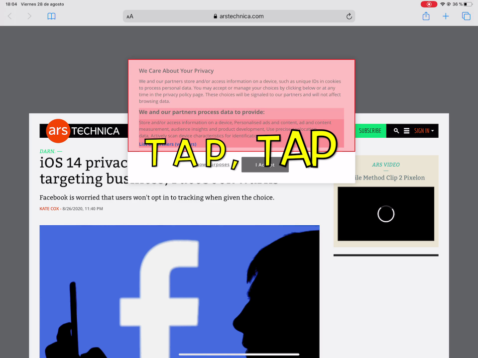 """Screenshot of TapTap in action in a 12.9"""" iPad Pro"""